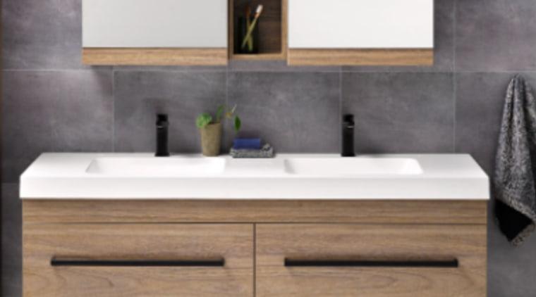 Soft basin corners and thick external lines give bathroom, bathroom accessory, bathroom cabinet, bathroom sink, countertop, floor, furniture, hardwood, interior design, plumbing fixture, sink, tap, tile, wall, gray