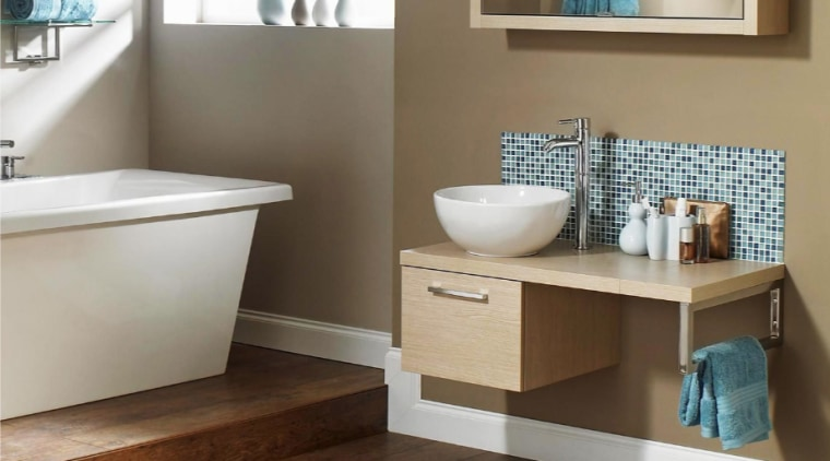 Bathroom by Five Star Bathrooms bathroom, bathroom accessory, bathroom cabinet, floor, flooring, hardwood, plumbing fixture, shelf, sink, brown, white