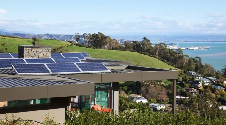 Several eco-friendly factors were introduced in the design architecture, building, coast, home, house, property, real estate, roof, sea, sky, solar energy, solar panel, solar power, sunlight, technology, teal, brown