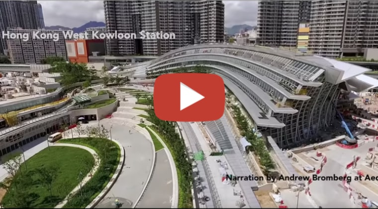 Hong Kong West Kowloon Station by Aedas architecture, building, city, commercial building, condominium, human settlement, infrastructure, intersection, junction, landscape, metropolis, metropolitan area, mixed-use, overpass, project, road, skyscraper, skyway, sport venue, stadium, street, thoroughfare, tower block, traffic, transport, transport hub, urban area, urban design, gray