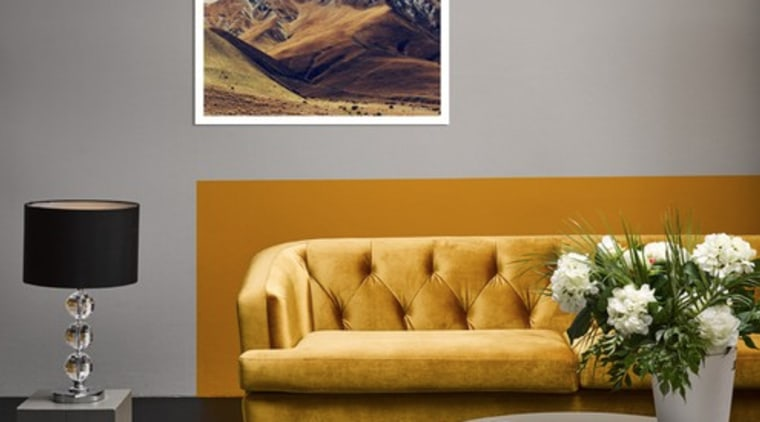 Colour blocking helps to frame the couch in art, coffee table, couch, floor, furniture, interior design, living room, modern art, painting, photography, room, sky, sofa bed, table, wall, yellow, gray