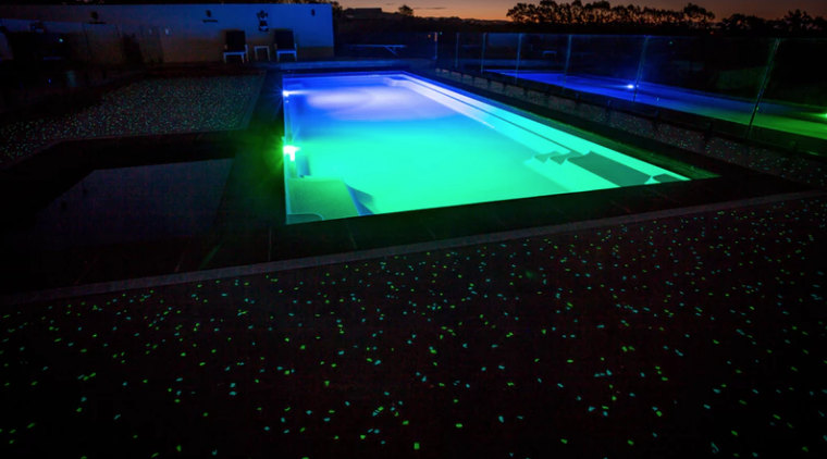 Ready, set, glow - architecture | green | architecture, green, light, lighting, night, swimming pool, technology, water, black
