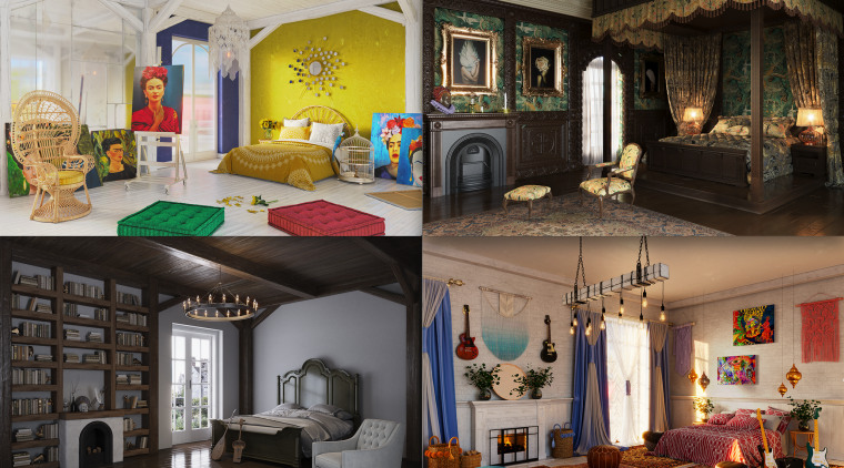 Iconic figures' bedrooms reconsidered for the modern world.