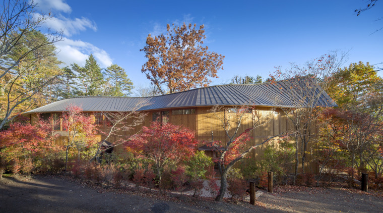 Shishi-iwa exterior. - Shishi-iwa House, designed by Shigeru architecture, autumn, building, home, house, leaf, property, real estate, residential area, roof, rural area, sky, tree, teal