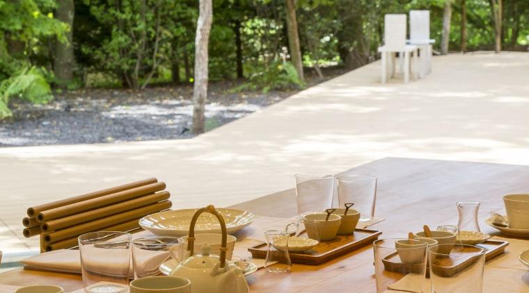 Shishi-iwa Grandroom – view of garden. - Shishi-iwa chair, furniture, home, interior design, picnic table, property, room, table, tree, yellow, brown
