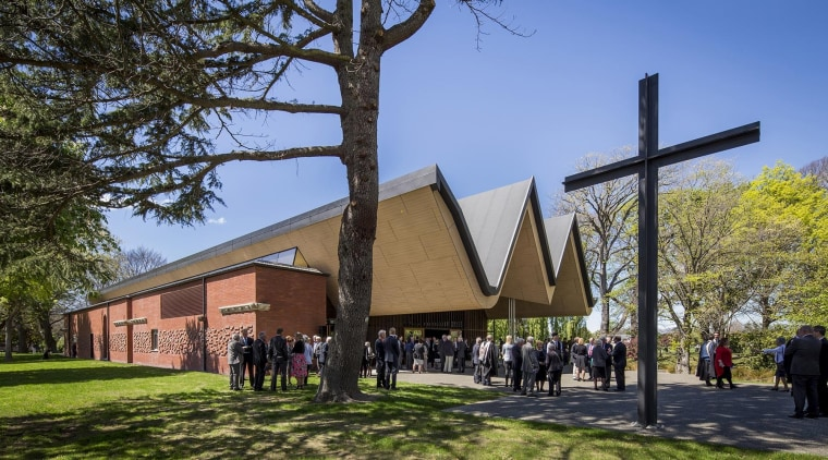 'St Andrew's College Centennial Chapel, Christchurch' by 'Architectus' architecture, building, chapel, church, house, place of worship, plant, sky, tree, brown, teal