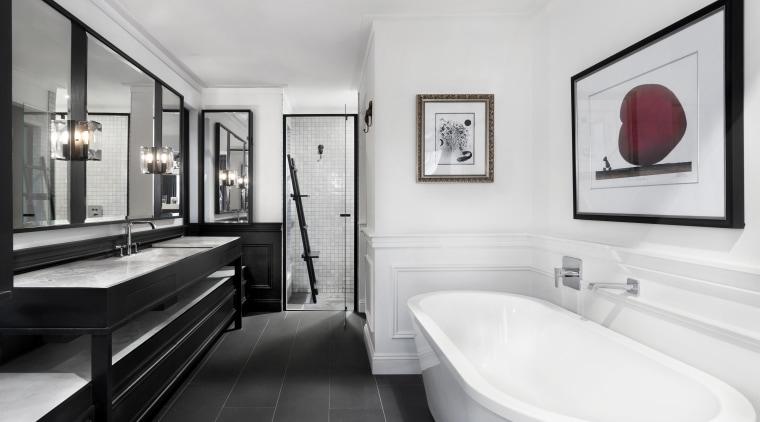 2018 TIDA Australia Designer Bathroom Winner – Leon bathroom, home, interior design, plumbing fixture, room, sink, white, gray
