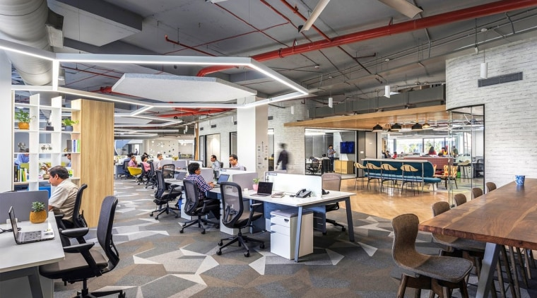 Open office, Purnesh architecture, building, cafeteria, ceiling, furniture, interior design, office, restaurant, room, table, gray