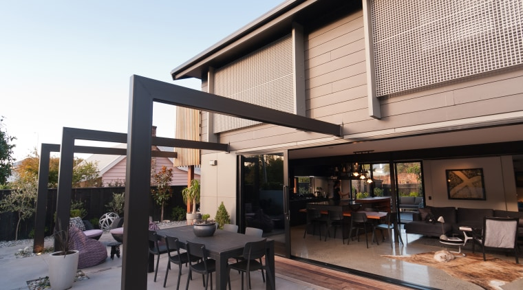 The steel pergola on the front of the architecture, building, facade, furniture, home, house, interior design, patio, pergola, property, real estate, roof, room, shade, white, black