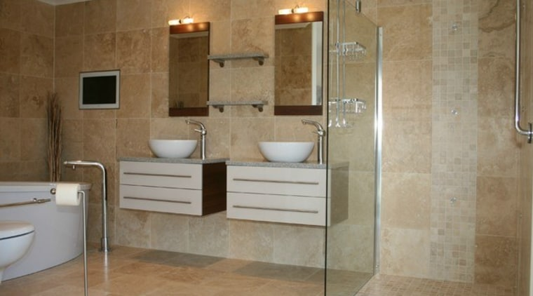 Image Source: Dodomi bathroom, floor, flooring, interior design, plumbing fixture, room, tile, wall, brown, gray