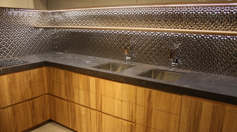 Trend 1 Mixed Materials - cabinetry | countertop cabinetry, countertop, floor, flooring, glass, interior design, kitchen, lighting, sink, tile, under cabinet lighting, wood, brown