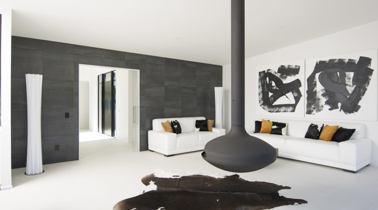 ​​​​​​​This new H-shaped Nelson showhome by GJ Gardner furniture, interior design, room, white, black