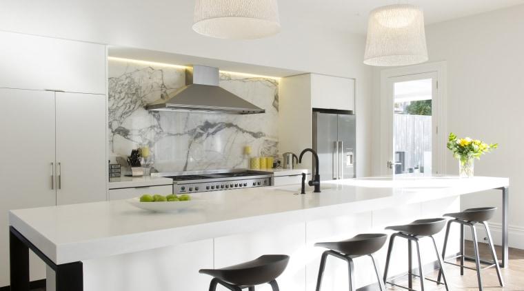 Photo by Mark Heaslip; design by Trinity Design countertop, cuisine classique, dining room, interior design, kitchen, table, white