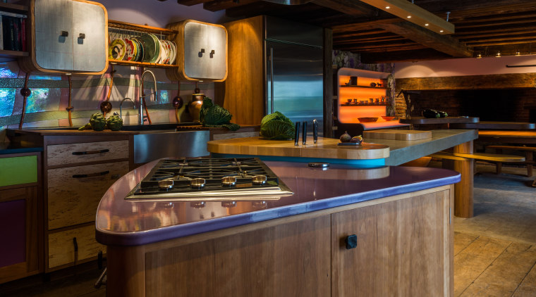 No space should be wasted, circulation around the building, cabinetry, countertop, furniture, home, interior design, kitchen, lighting, property, room, under-cabinet lighting, black, brown