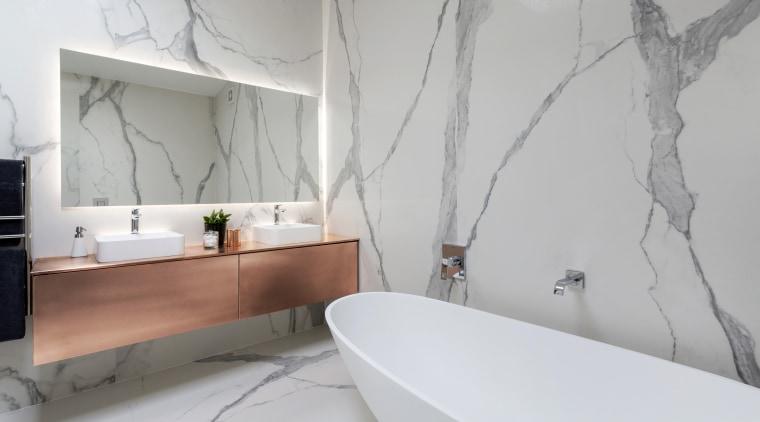 For this bathroom, designer and developer Cameron Ireland architecture, bathroom, floor, home, interior design, room, tap, tile, wall, gray