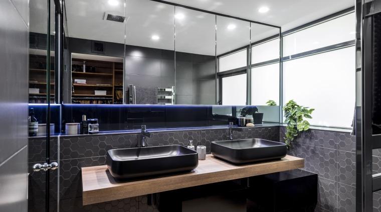Part of a glamorous master ensuite by designer countertop, interior design, kitchen, sink, black, white