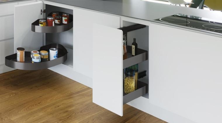 Vauth Sagel Planero KitchenSeen here, Cornerstone MAXX units countertop, floor, flooring, furniture, interior design, kitchen, product, shelf, white