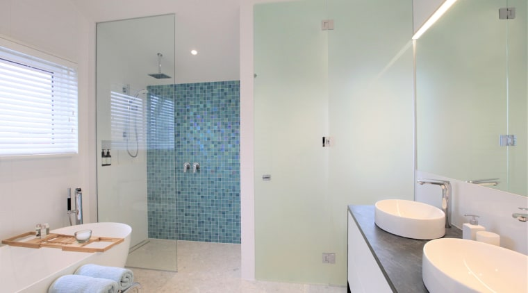 This bathroom by architect and owner Richard Dalman,