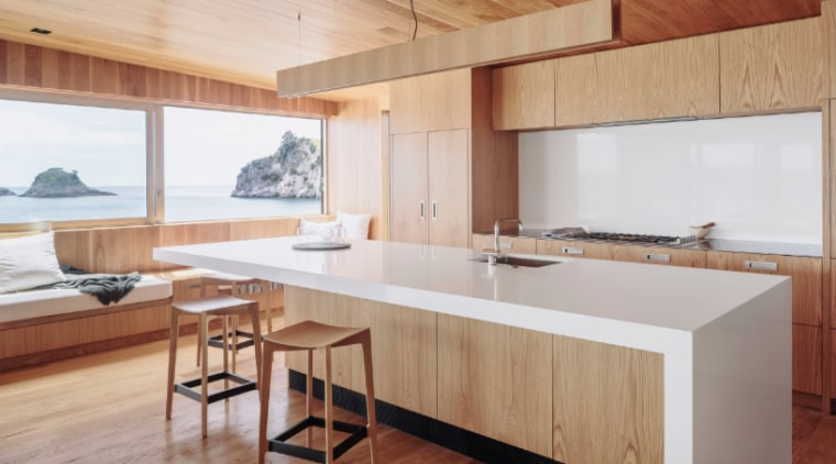 Timber gives your kitchen a warm, natural aesthetic architecture, countertop, floor, furniture, hardwood, house, interior design, kitchen, real estate, table, wood, wood flooring, gray