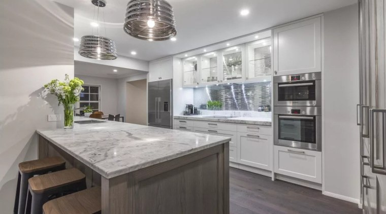 Glacier granite benchtop. Kitchen design by Kira Gray, cabinetry, countertop, cuisine classique, home appliance, interior design, kitchen, real estate, gray