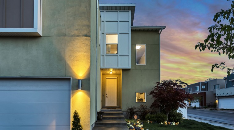 Smart lights let you control your home's lighting architecture, building, estate, facade, home, house, property, real estate, residential area, sky, window, gray
