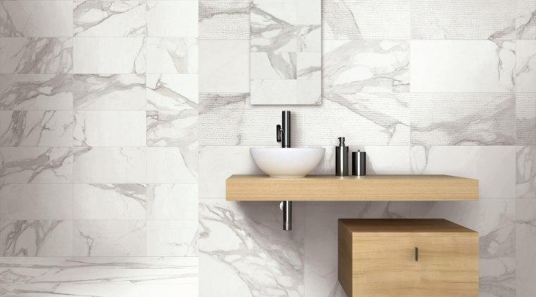 Reproducing marble using the most advanced porcelain tile angle, bathroom, bathroom accessory, bathroom cabinet, bathroom sink, ceramic, floor, flooring, furniture, interior design, plumbing fixture, sink, table, tap, tile, wall, white