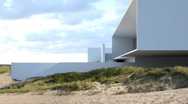 Side view of cantilevered section of the house architecture, house, property, real estate, sky, gray, white
