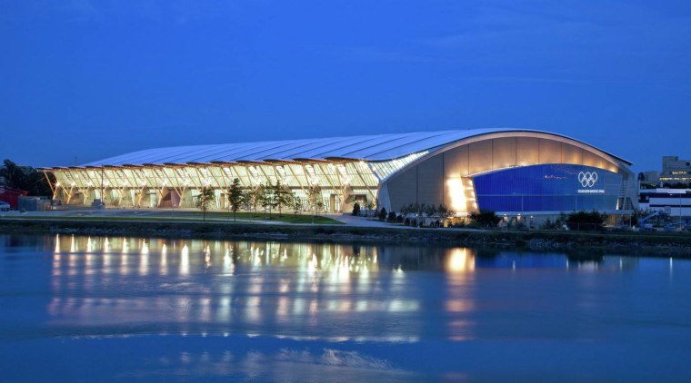 Richmond Olympic Oval was realised by Cannon Design architecture, daytime, fixed link, opera house, reflection, sky, sport venue, structure, water, waterway, blue