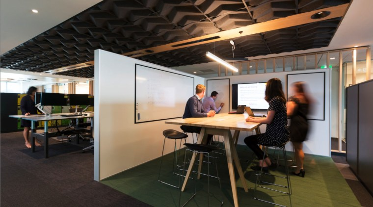 Open meeting room architecture, ceiling, furniture, interior design, office, table, black