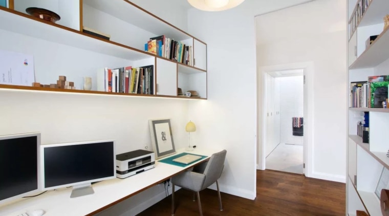 Do you need a home office? apartment, interior design, loft, office, property, real estate, room, shelving, white