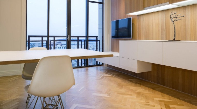 The clean design of the kitchen means uninterrupted architecture, ceiling, floor, flooring, furniture, hardwood, interior design, laminate flooring, table, wall, wood, wood flooring, gray