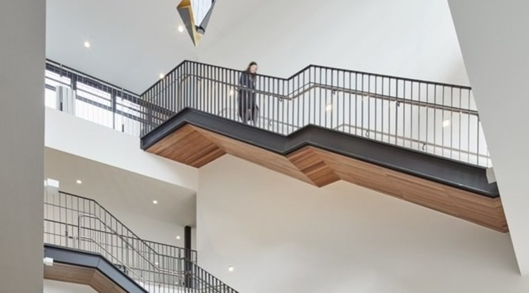 Architect: McIldowie PartnersPhotography by Peter Clarke apartment, architecture, building, daylighting, handrail, stairs, structure, gray