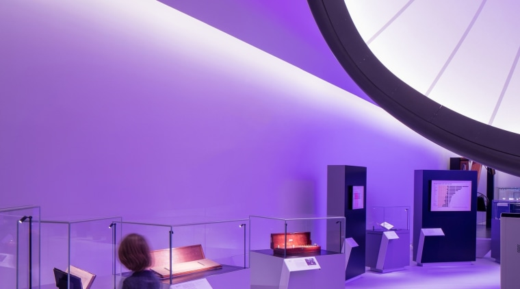 Zaha Hadid – Mathematics: The Winton Gallery – architecture, ceiling, design, interior design, light, lighting, product design, purple, purple