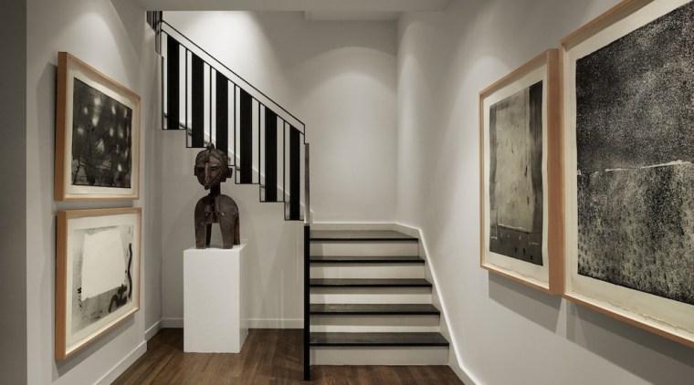 More art gallery than home? ceiling, exhibition, floor, flooring, interior design, wood flooring, gray