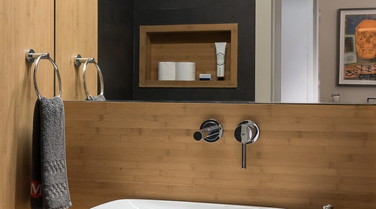 The wood helps to show off the vanity bathroom, bathroom accessory, bathroom cabinet, floor, interior design, plumbing fixture, product design, room, sink, tap, brown