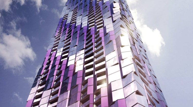 The purple makes for an interesting building – architecture, building, commercial building, condominium, corporate headquarters, daytime, facade, landmark, metropolis, metropolitan area, mixed use, purple, sky, skyscraper, tower, tower block, urban area, gray