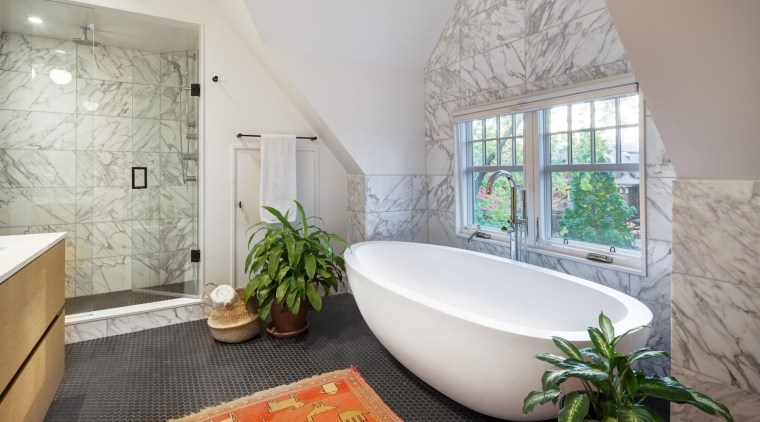 Marble-look tiles give the bathroom an elegant feel architecture, bathroom, bathtub, estate, home, interior design, property, real estate, room, window, gray