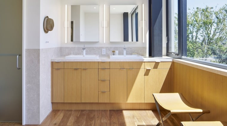 Architect: Schwartz and Architecture: SaAPhotography by Bruce architecture, bathroom, bathroom accessory, bathroom cabinet, cabinetry, countertop, floor, flooring, hardwood, interior design, kitchen, property, real estate, room, sink, wood, wood flooring, gray