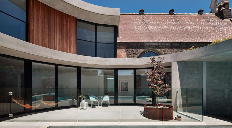 The new design blends into the old architecture, building, estate, facade, house, property, real estate, swimming pool, window, gray, black