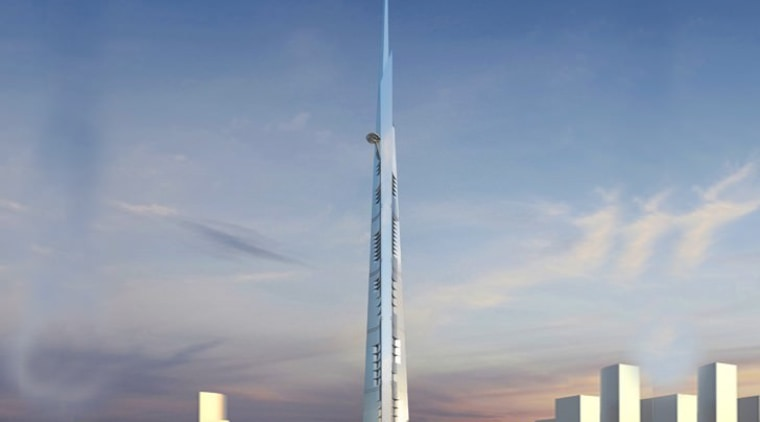 The Jeddah Tower will feature the world's highest building, daytime, energy, landmark, metropolis, metropolitan area, sky, skyline, skyscraper, tower, gray
