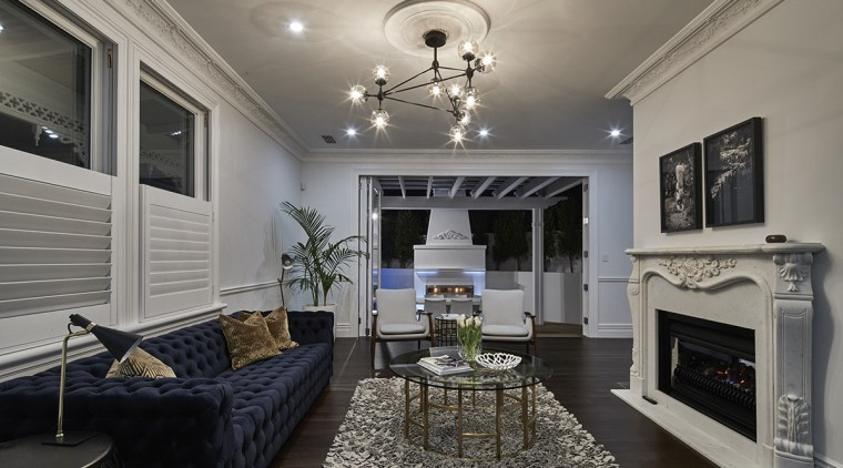 This villa renovation has reorganised the flow of ceiling, home, interior design, living room, real estate, room, gray, black