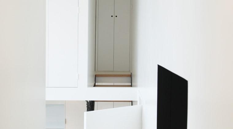 Architect: jbmn architectesPhotographer: Hermann Wendler bathroom accessory, floor, furniture, interior design, product, product design, shelf, tap, white