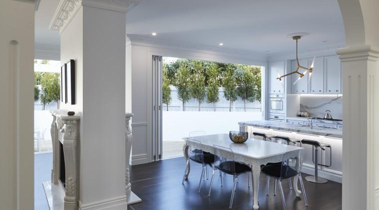 TIDA NZ 2017 – Architect-designed renovation winner – countertop, floor, timber flooring, home, interior design, kitchen, Leushke Khan architect, KMD Kitchens, Universal Granite, Blanco, Kohler