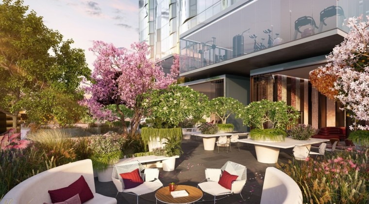 Outdoor gardens are a valuable addition to any apartment, backyard, courtyard, estate, home, house, interior design, landscaping, mixed use, patio, plant, property, real estate, residential area, gray, brown