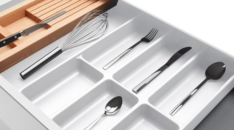 Fits into drawers from 400mm wideCan be placed cutlery, fork, product, tableware, white