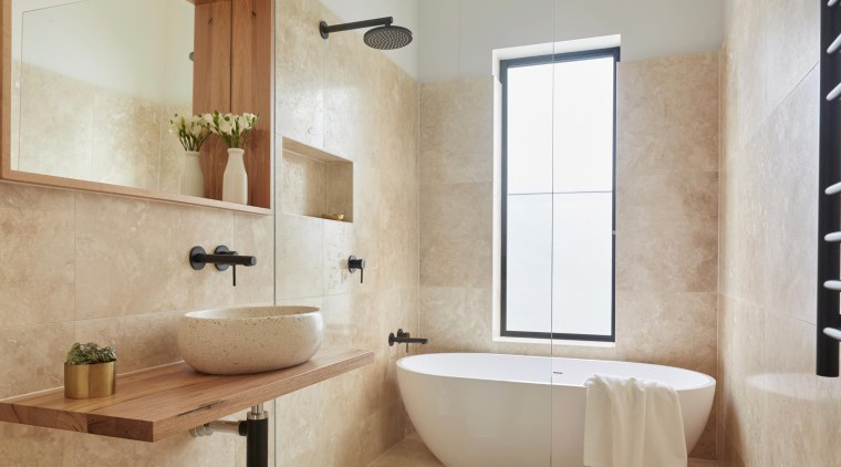 Never underestimate the importance of windows and natural bathroom, bathroom accessory, floor, flooring, home, interior design, plumbing fixture, room, sink, tap, tile, wall, window, gray