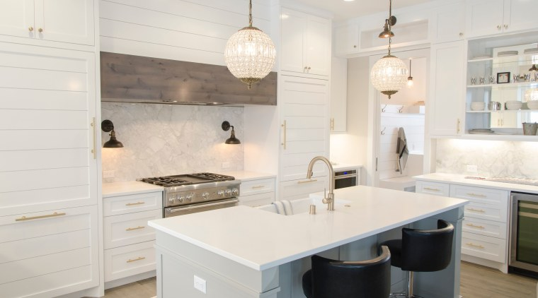 The work of an experienced designer cabinetry, countertop, cuisine classique, floor, flooring, home, interior design, kitchen, room, tile, white