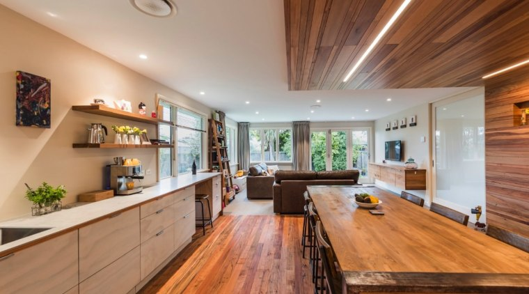 TIDA NZ 2017 – Designer renovation winner – ceiling, countertop, estate, flooring, hardwood, interior design, kitchen, property, real estate, room, wood, wood flooring, brown, gray