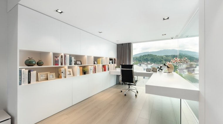 An L-shaped desk connects up to a large, architecture, floor, house, interior design, product design, white, gray