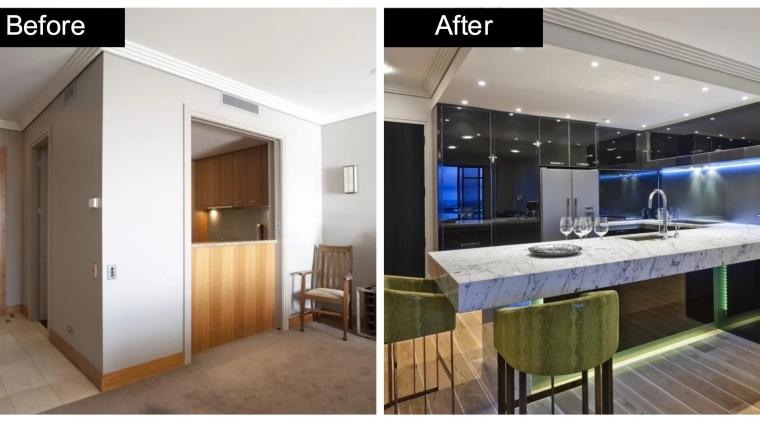 See more of this kitchen renvovation story. Designer: countertop, interior design, kitchen, real estate, white